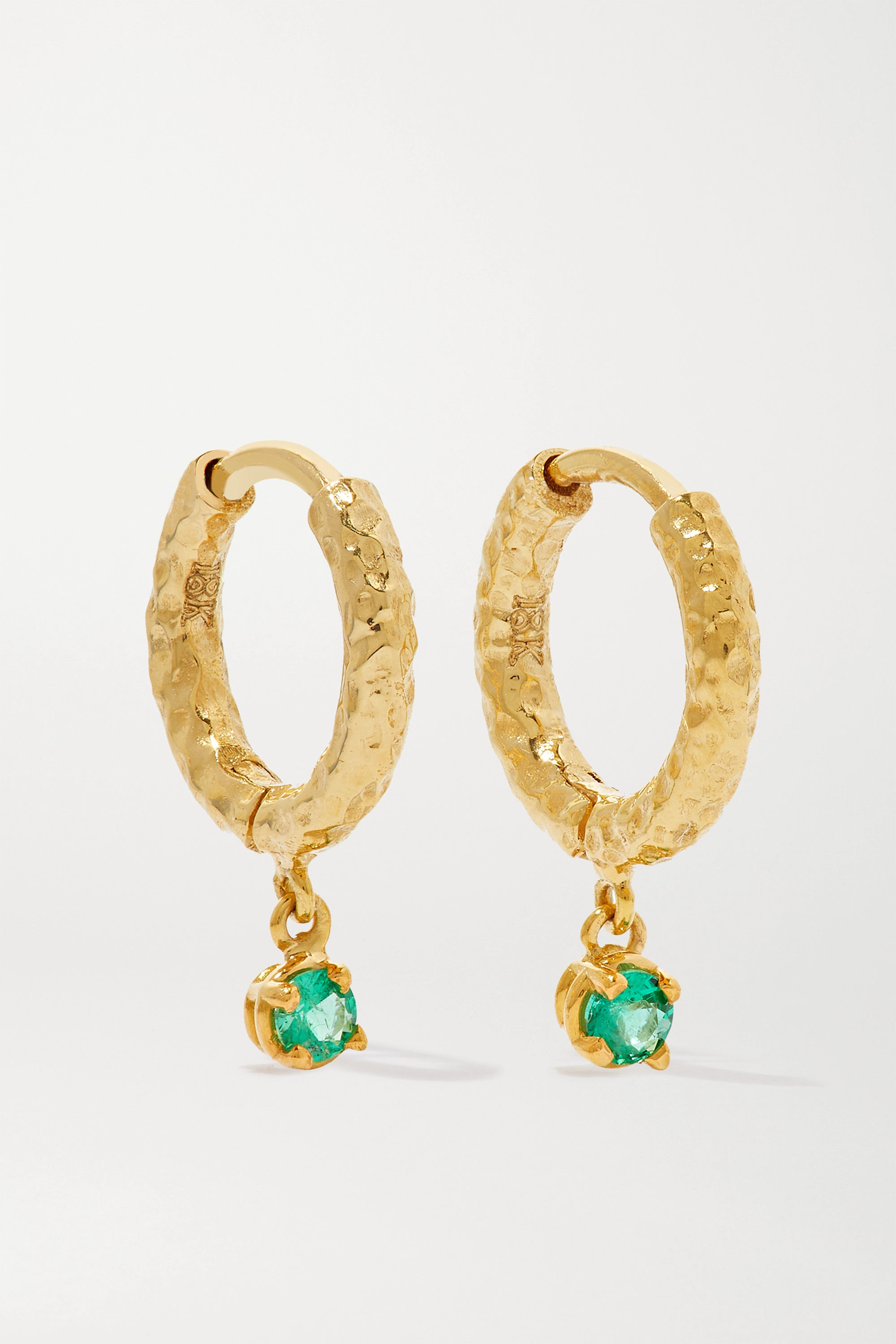 Octavia Elizabeth + NET SUSTAIN Micro Gabby 18-karat recycled gold emerald hoop earrings