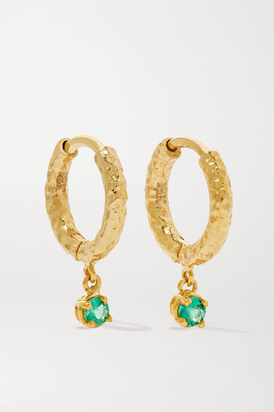 Octavia Elizabeth + NET SUSTAIN Micro Gabby 18-karat gold emerald hoop earrings