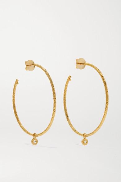 Octavia Elizabeth Net Sustain Nesting Gem 18-karat Gold Diamond Hoop Earrings