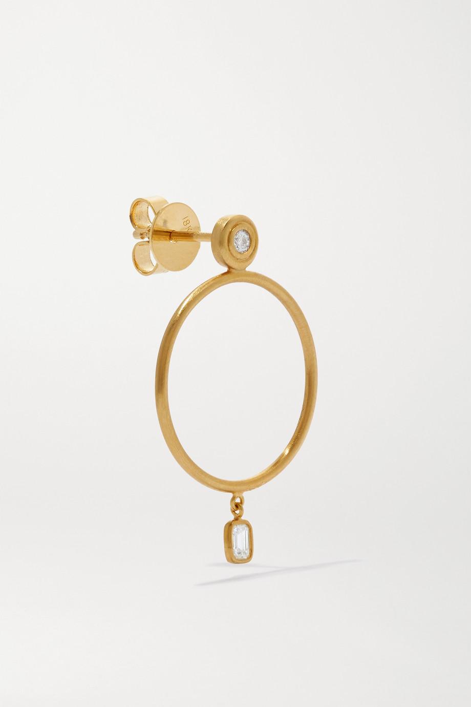 Octavia Elizabeth Sanded 18-karat gold diamond hoop earrings