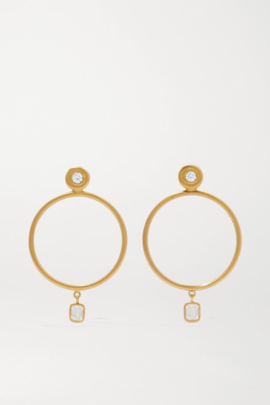 Octavia Elizabeth + NET SUSTAIN Sanded 18-karat gold diamond hoop earrings