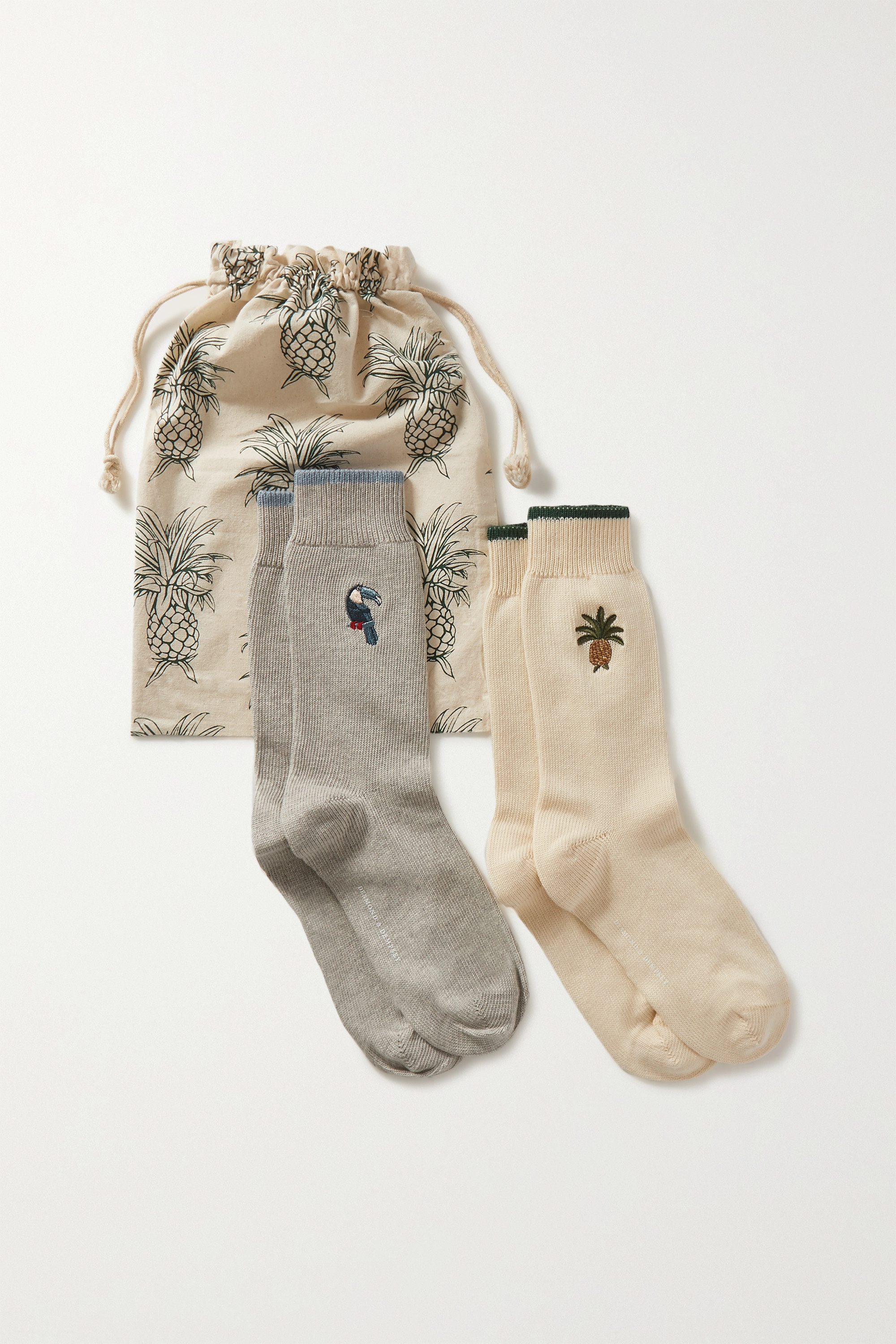 Desmond & Dempsey Howie and Bocas set of two embroidered cotton-blend socks