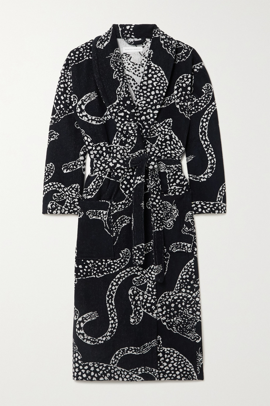 Desmond & Dempsey Belted cotton-terry jacquard robe