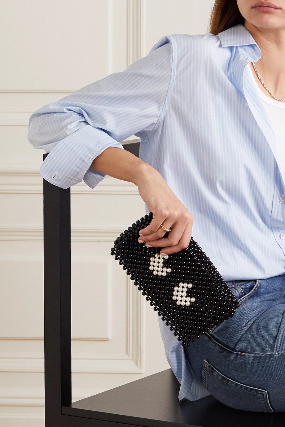 Anya Hindmarch Eyes leather-trimmed beaded clutch