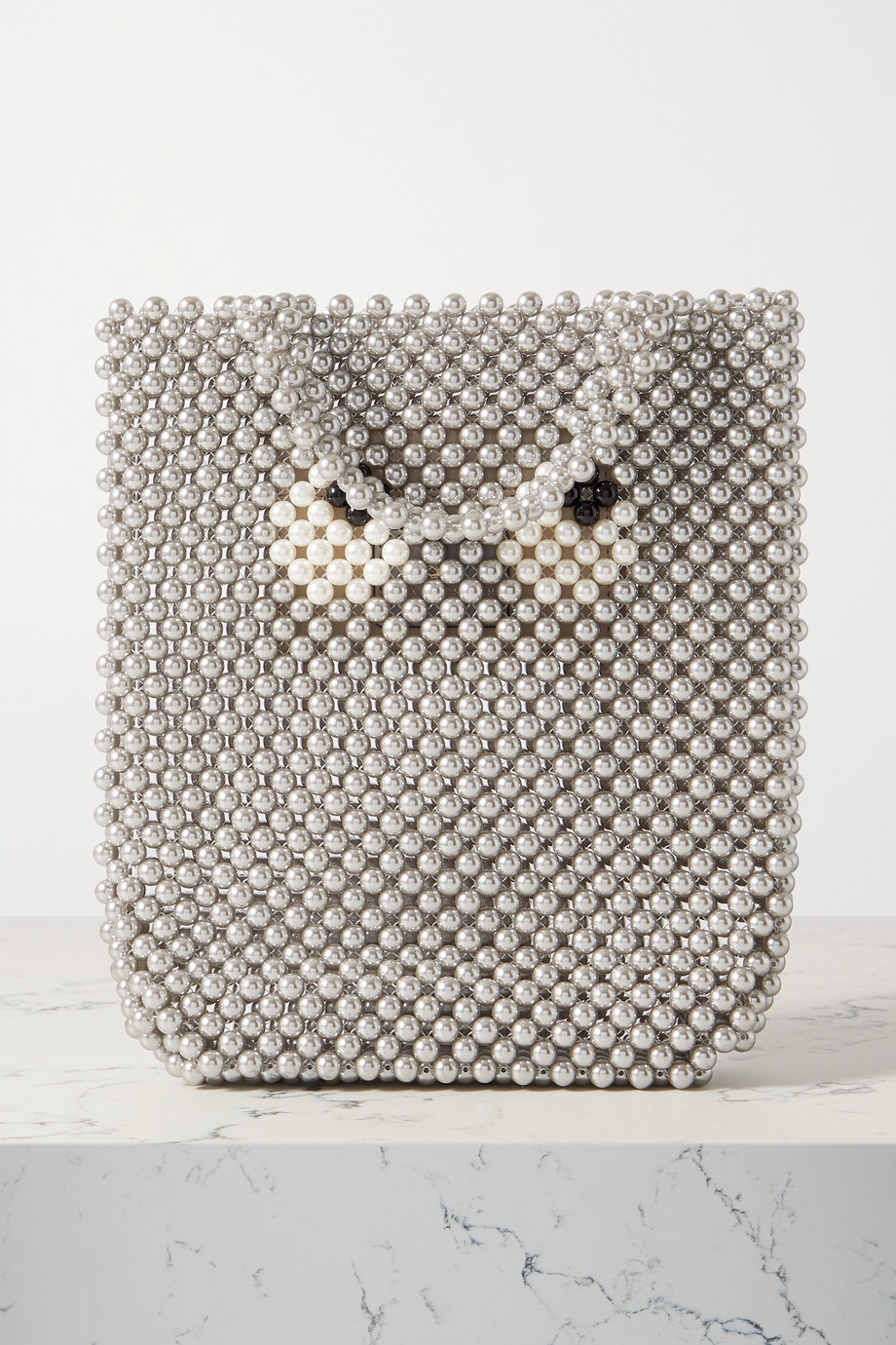 Anya Hindmarch Eyes small leather-trimmed beaded tote