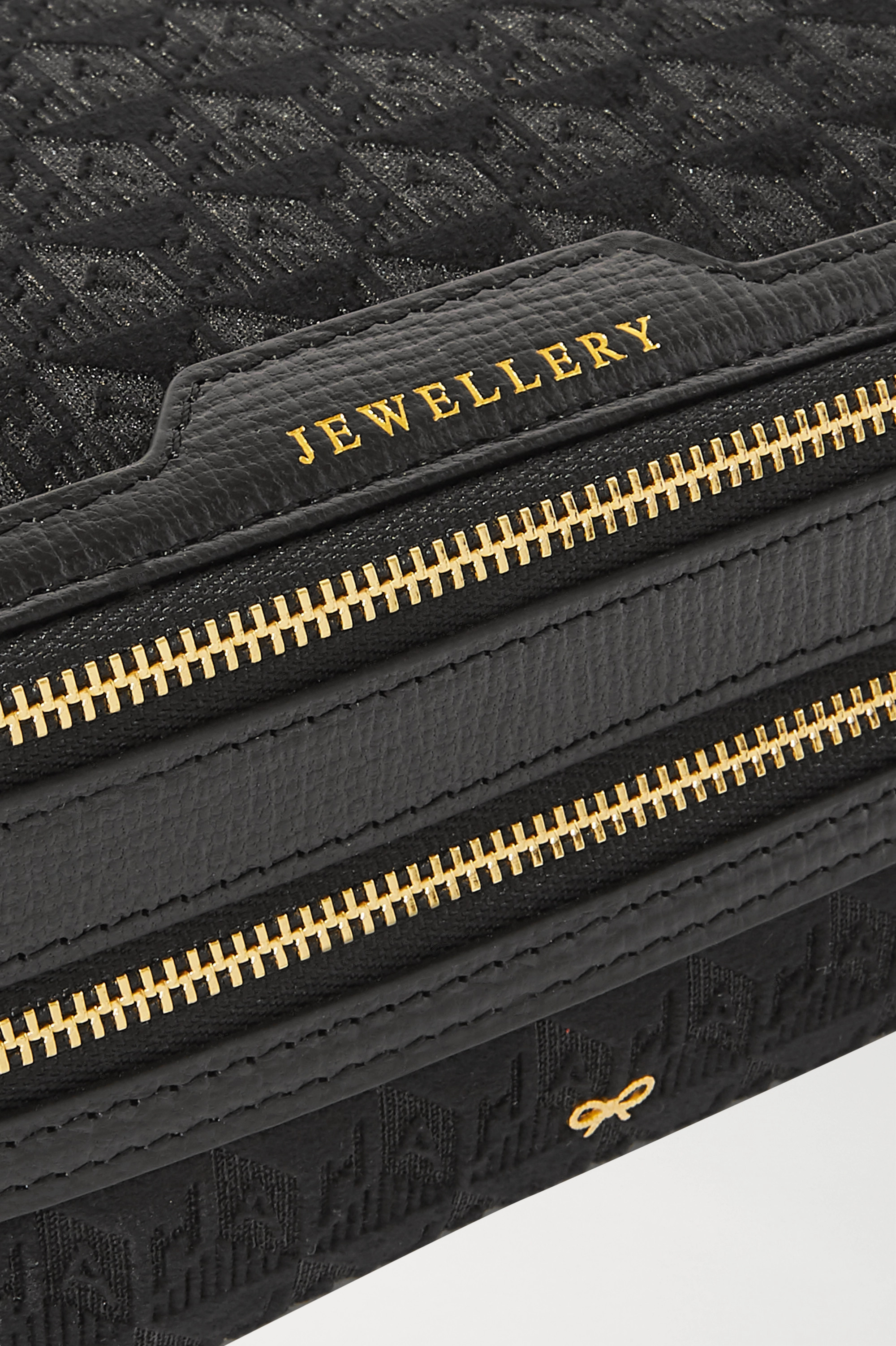 Anya Hindmarch Leather-trimmed velvet-jacquard jewelry case