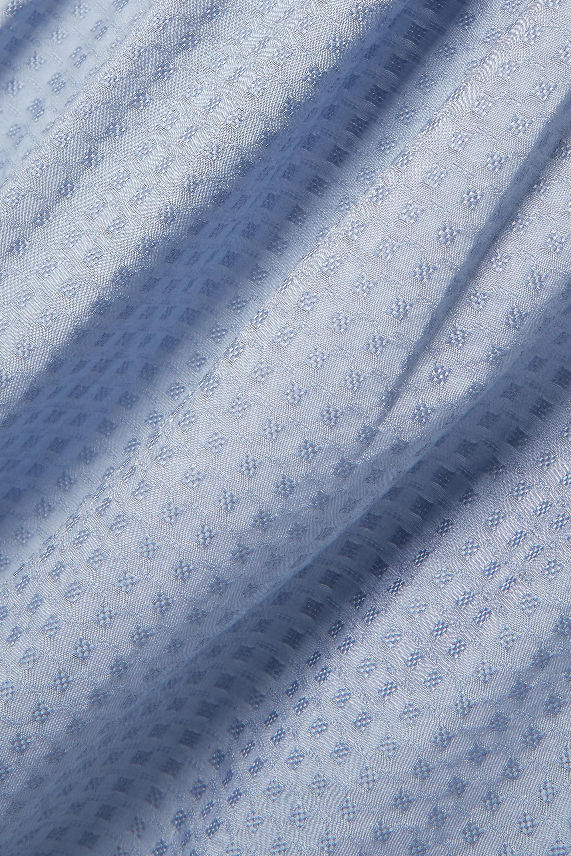Evarae Robe longue épaules nues en coton et soie mélangés à fil coupé Lora