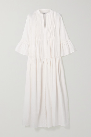 Evarae - Katia Tiered Pintucked Cotton And Silk-blend Maxi Dress - White