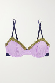 Dora Larsen Lily lace and stretch satin-trimmed jersey underwired bra