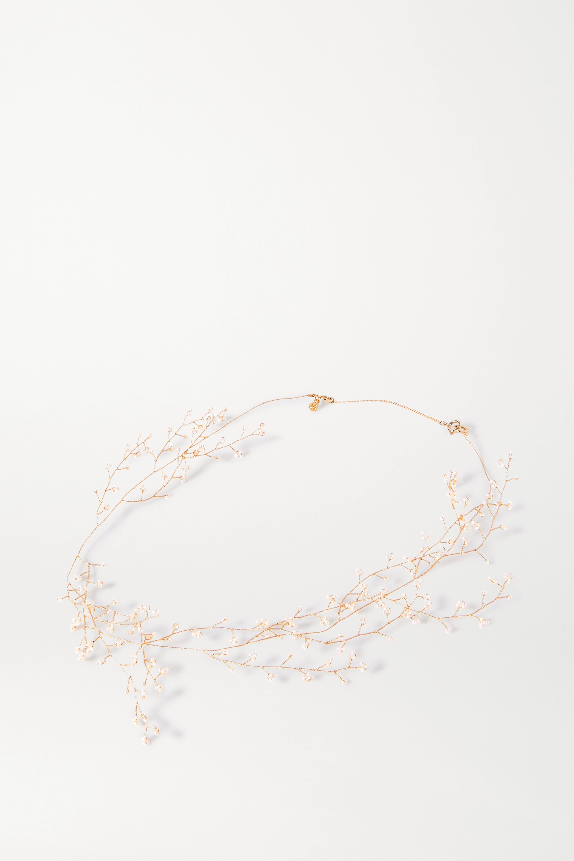 White Baby's Breath Gold-plated Pearl Necklace | 14 / Quatorze
