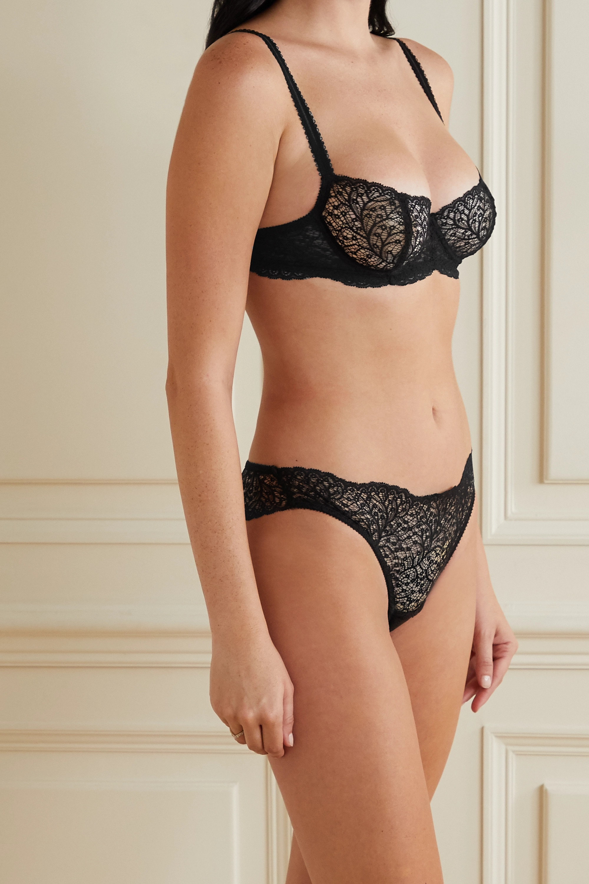 Black Allegra Stretch-lace Briefs | Journelle