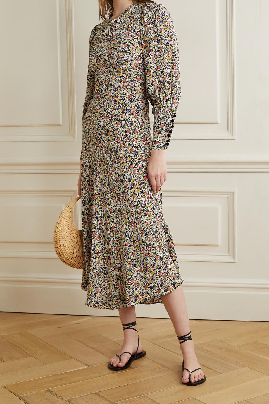 DÔEN Nanette belted floral-print crepe maxi dress