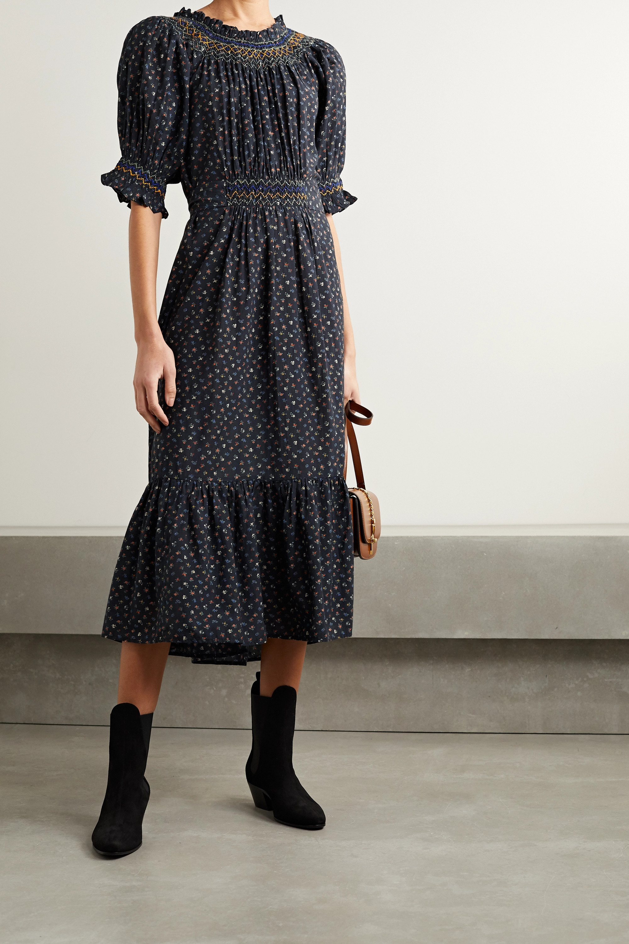 DÔEN Isidore belted ruched floral-print organic cotton-blend voile midi dress
