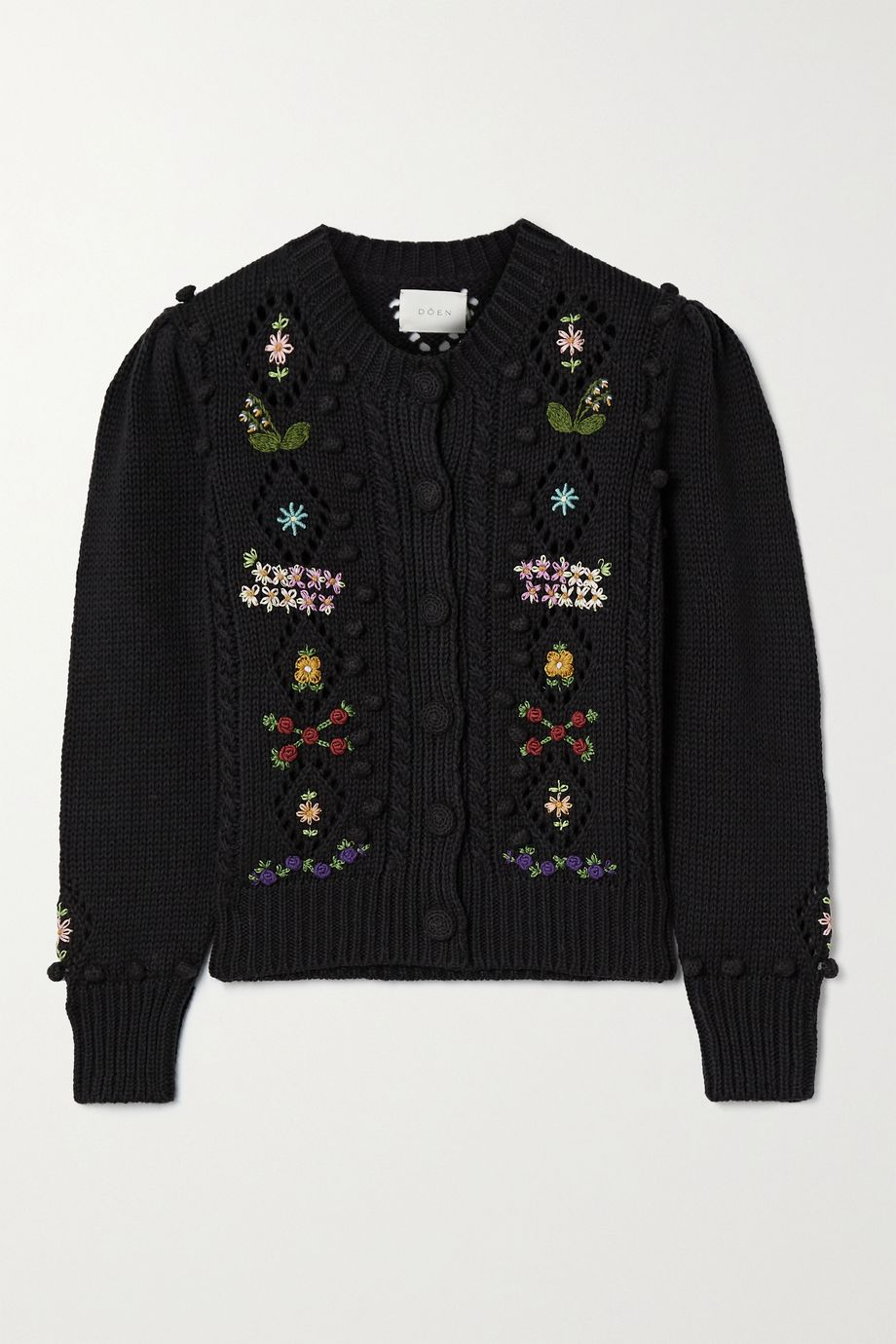 DÔEN Forget-Me-Not embroidered cable-knit cotton and wool-blend cardigan
