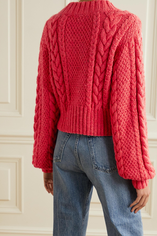 DÔEN Hermione cropped cable-knit alpaca-blend cardigan