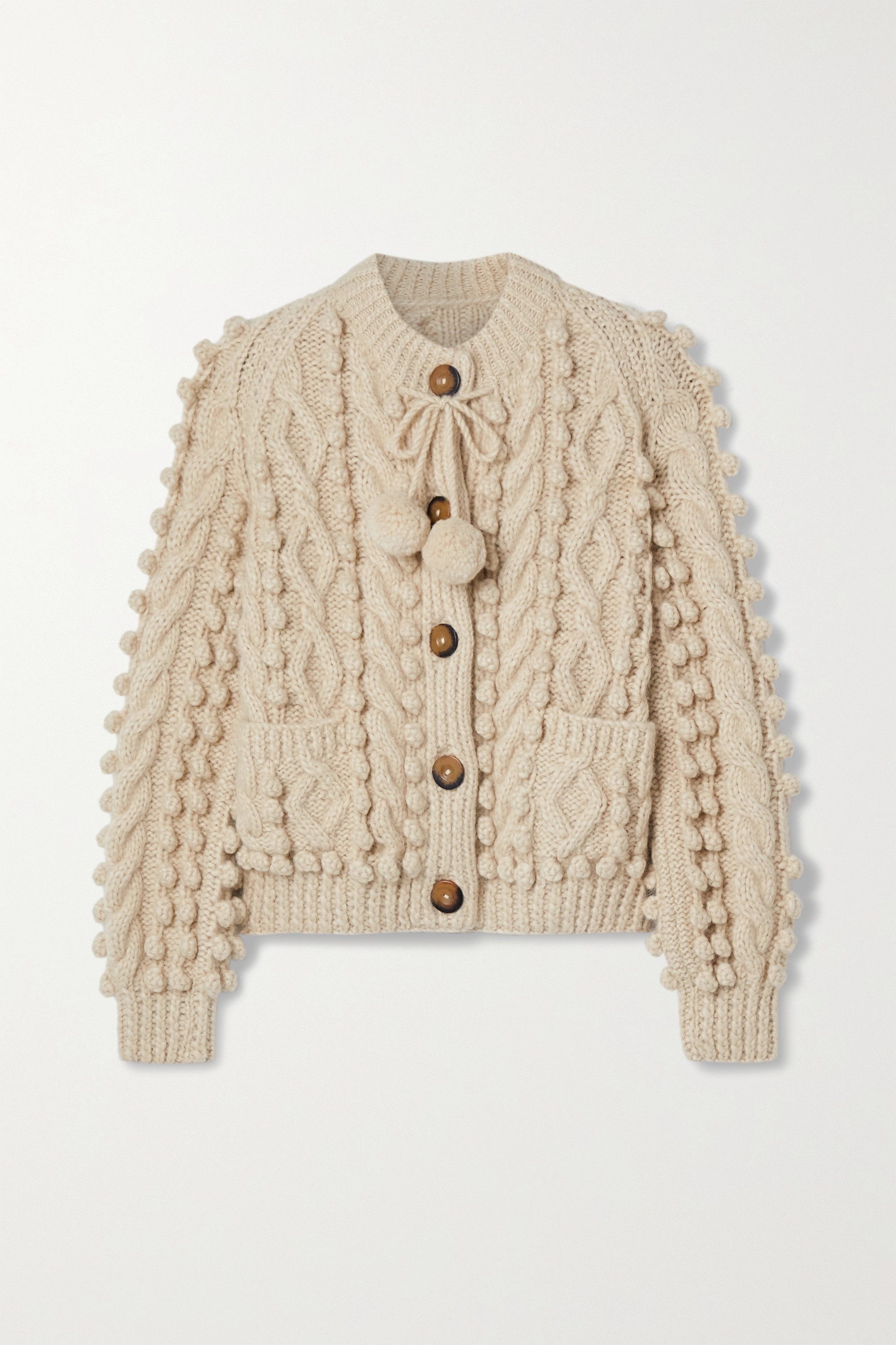 DÔEN Pomme tie-detailed cable-knit alpaca-blend cardigan