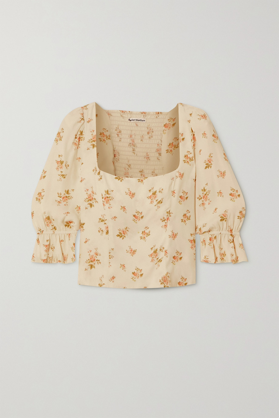Reformation Ana ruffled floral-print crepe top