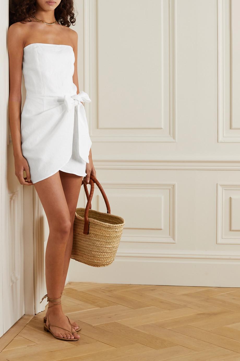 Reformation Turnip strapless wrap-effect linen mini dress