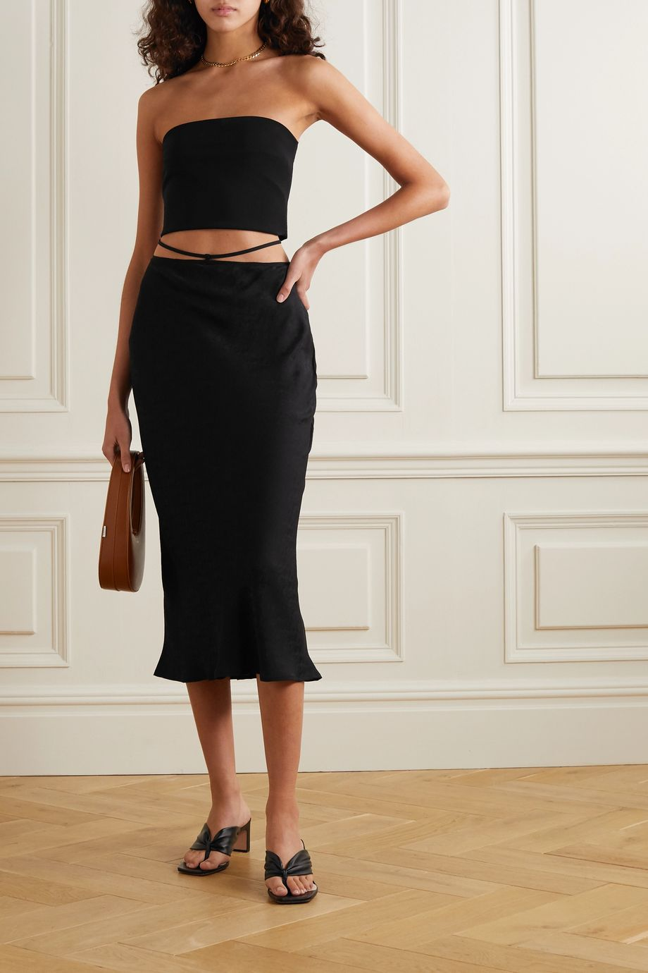 Reformation Eden tie-detailed silk-jacquard midi skirt
