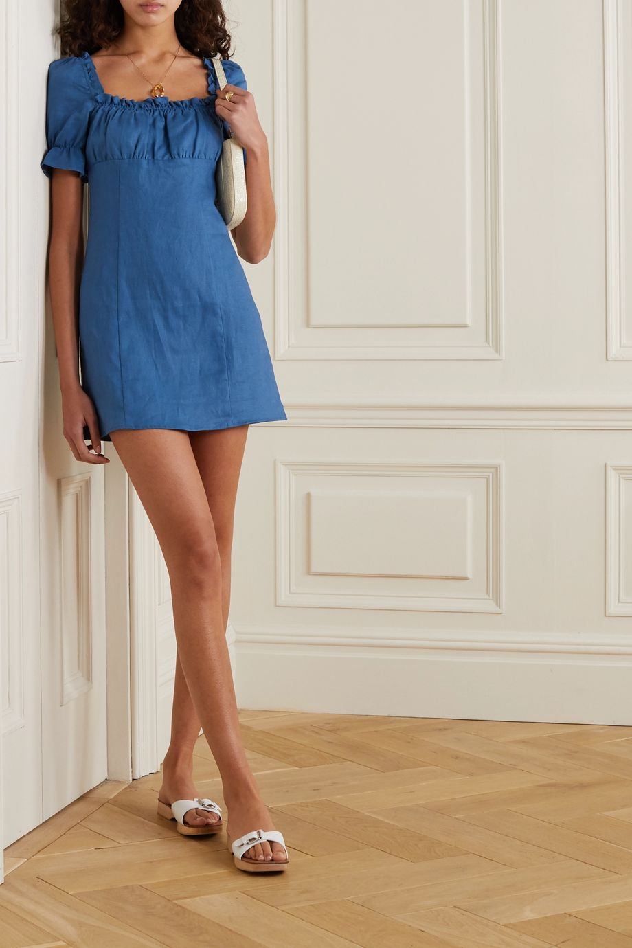 Reformation Robles ruffled linen mini dress