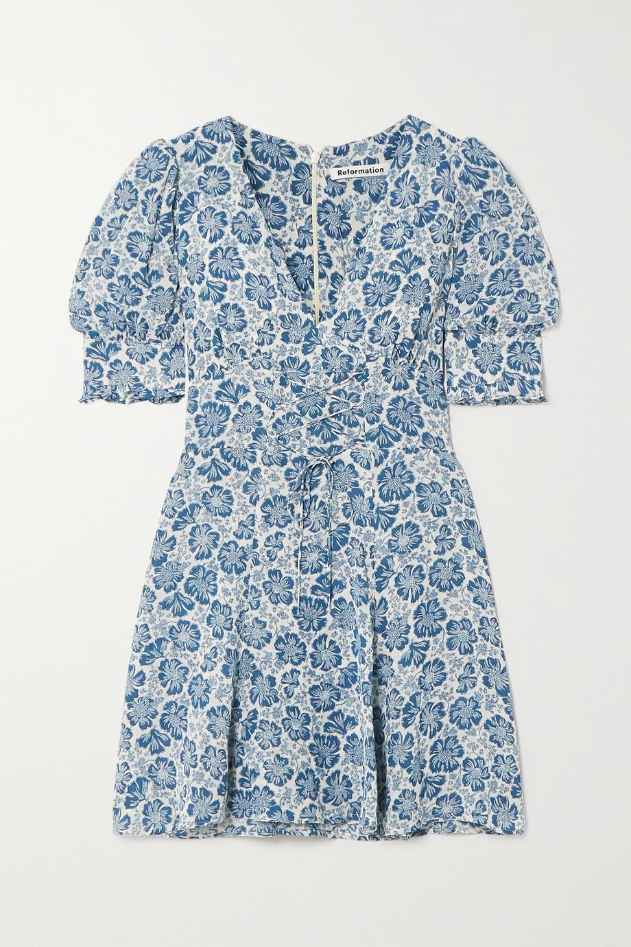 Reformation Steph Minikleid aus Georgette mit Blumenprint und Schnürung