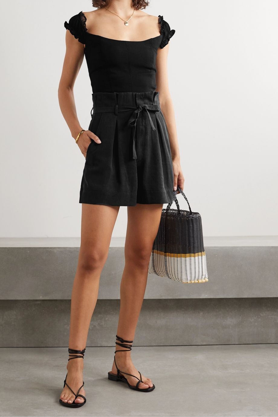 Reformation Castel belted pleated Tencel Lyocell shorts