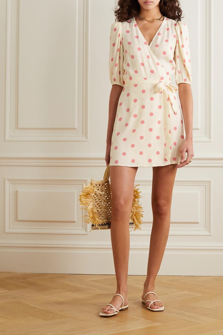 Reformation Olince Mini-Wickelkleid aus Crêpe mit Polka-Dots