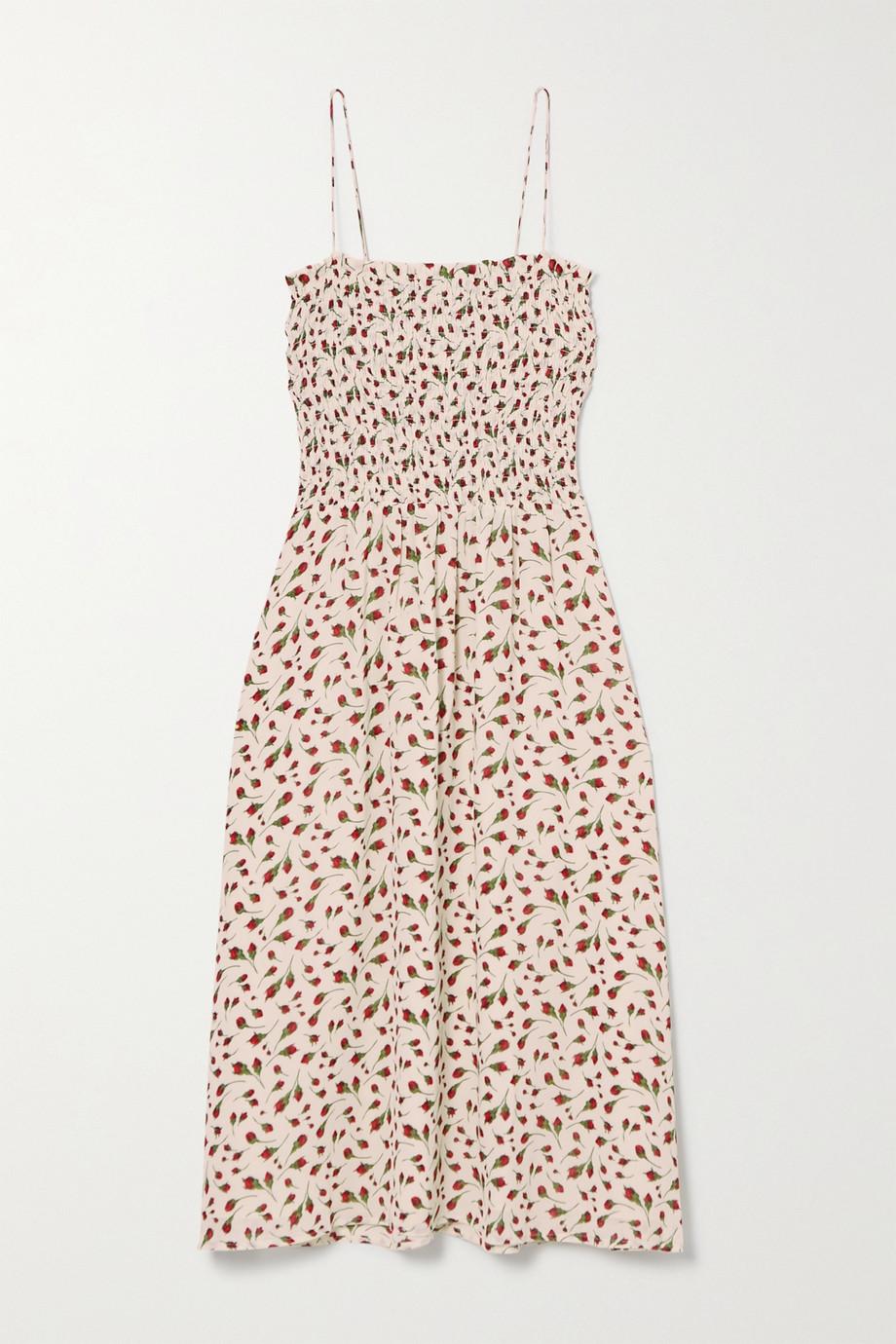 Reformation Sable shirred floral-print georgette midi dress