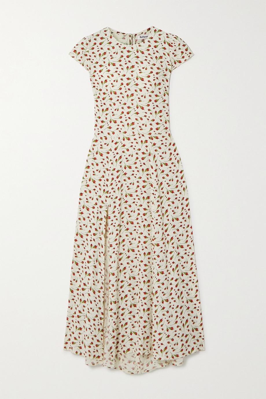 Reformation Gavin cutout floral-print crepe midi dress