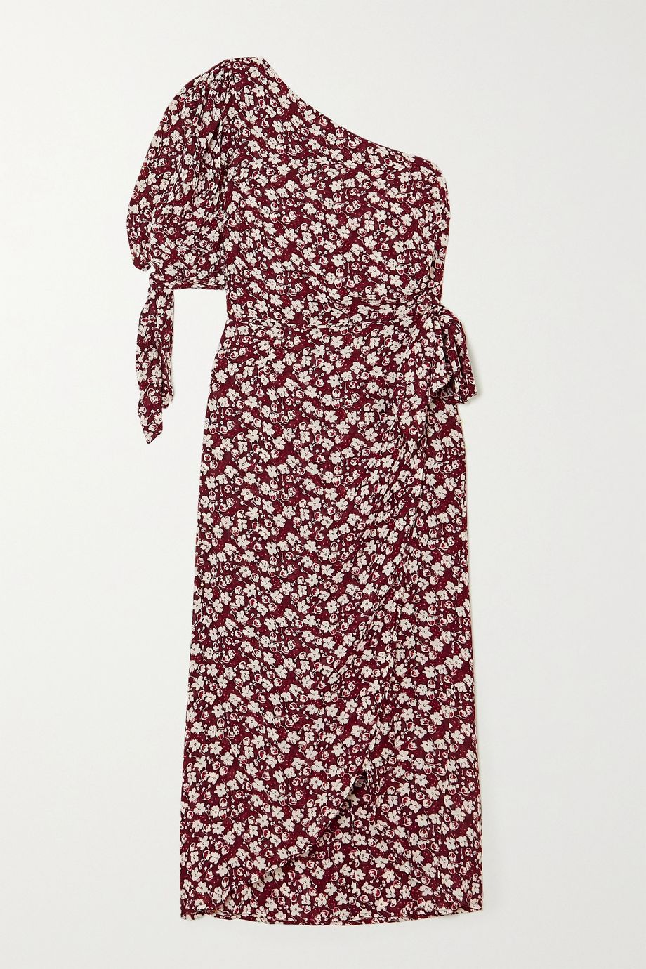 Reformation Rainey one-sleeve floral-print georgette midi dress