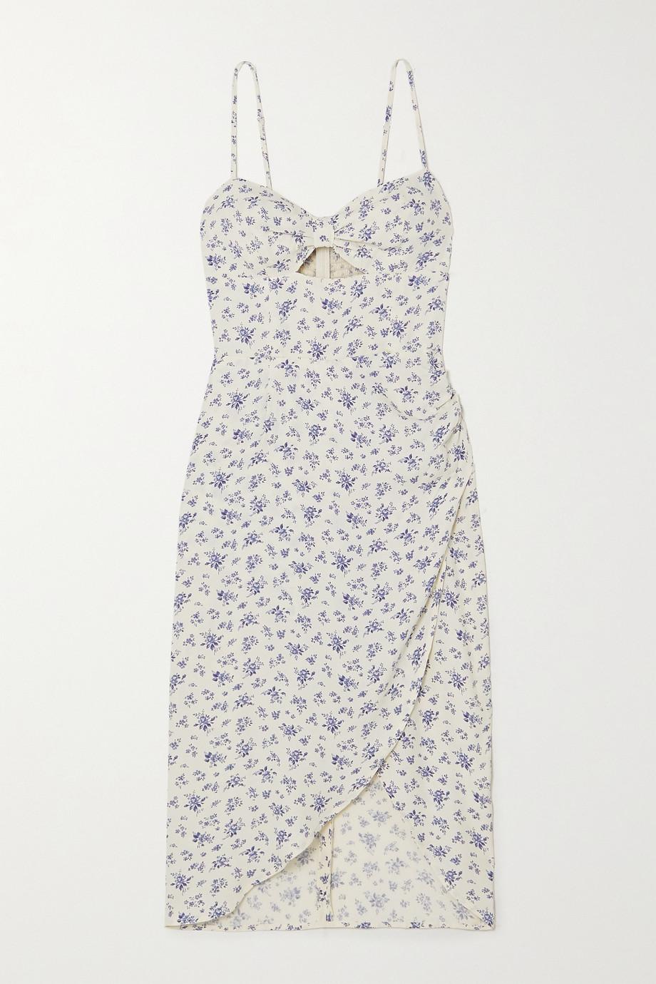 Reformation Aero Kleid aus Crêpe mit Blumenprint, Wickeleffekt und Cut-out