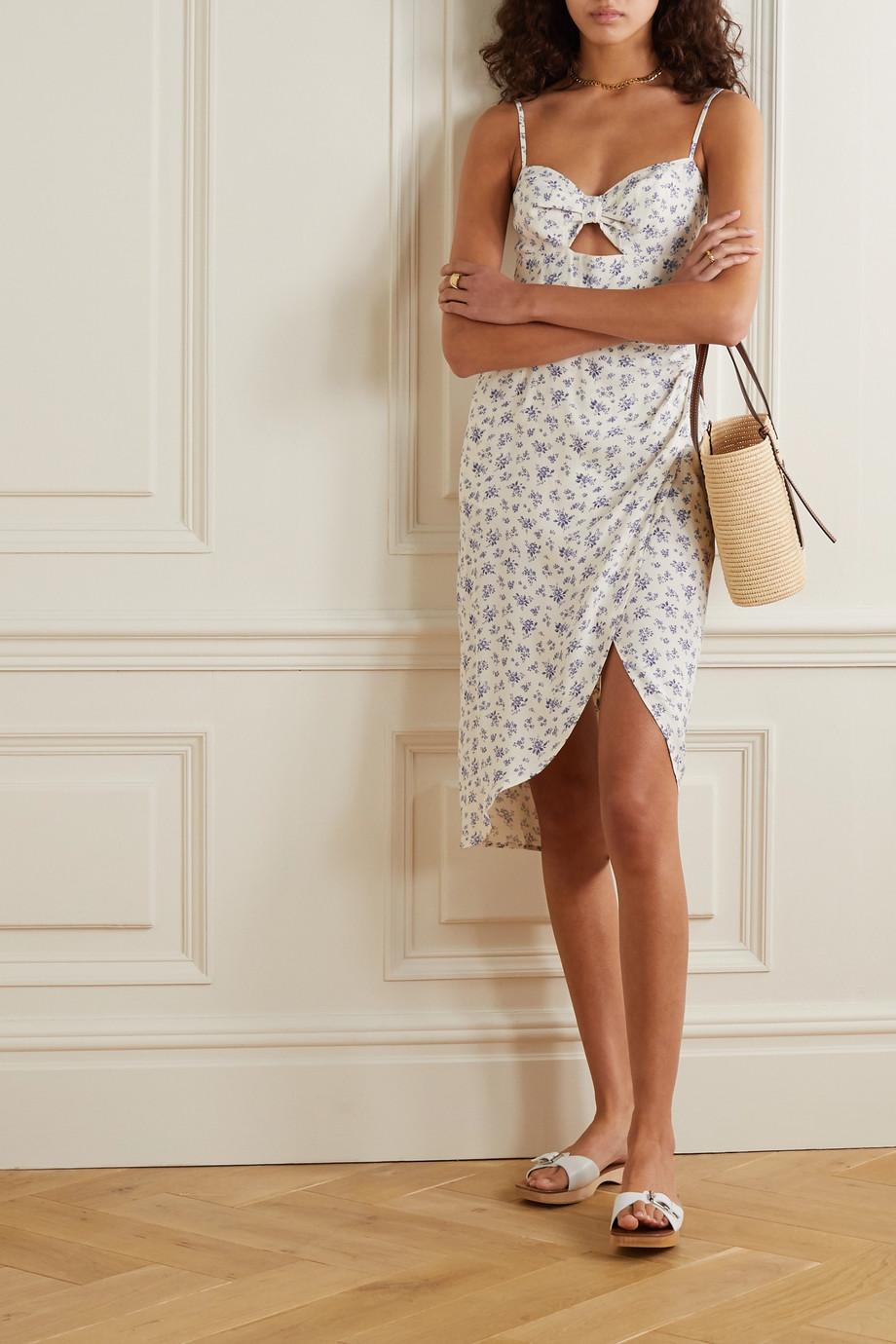Reformation Aero cutout wrap-effect floral-print crepe dress