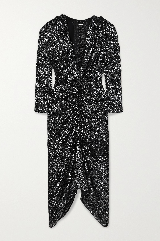 Isabel Marant Ruched metallic fil coupé chiffon midi dress