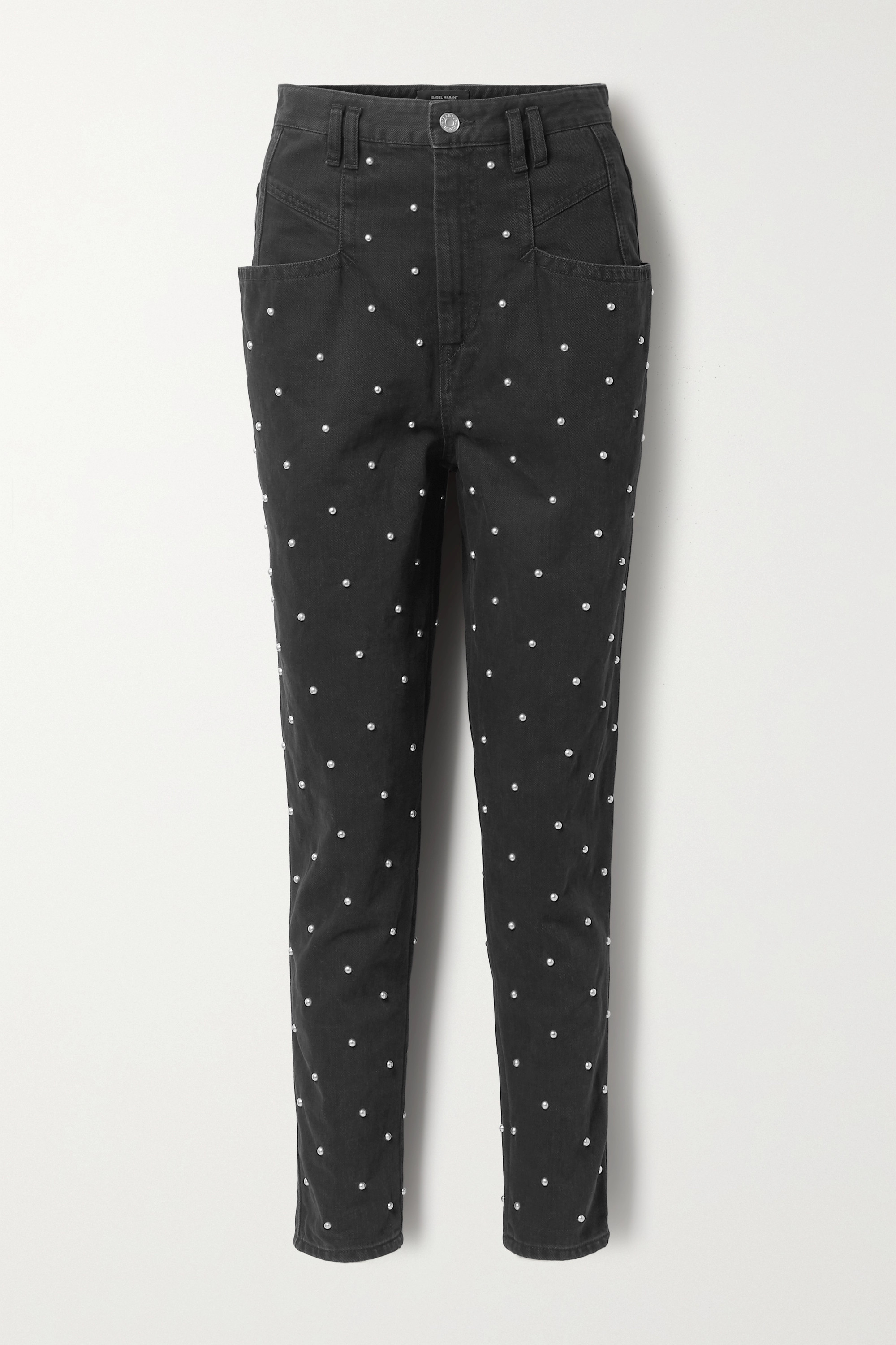 Isabel Marant Stud-embellished high-rise tapered jeans