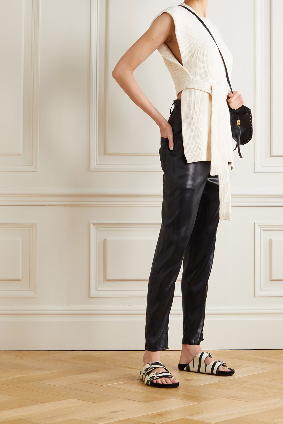Isabel Marant Belted silk-satin tapered pants