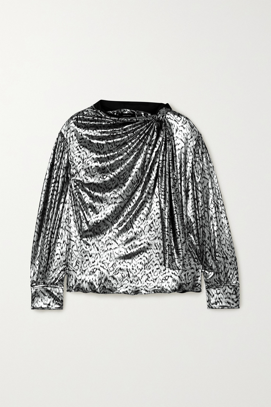 Isabel Marant Lavaliere tie-detailed lamé blouse