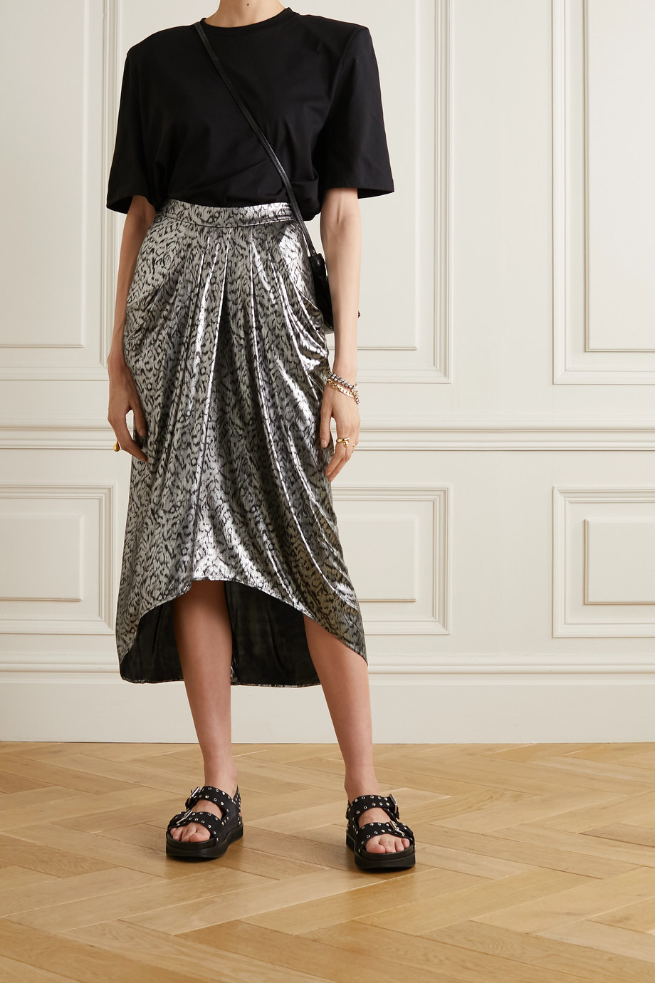 Isabel Marant Draped lamé midi skirt
