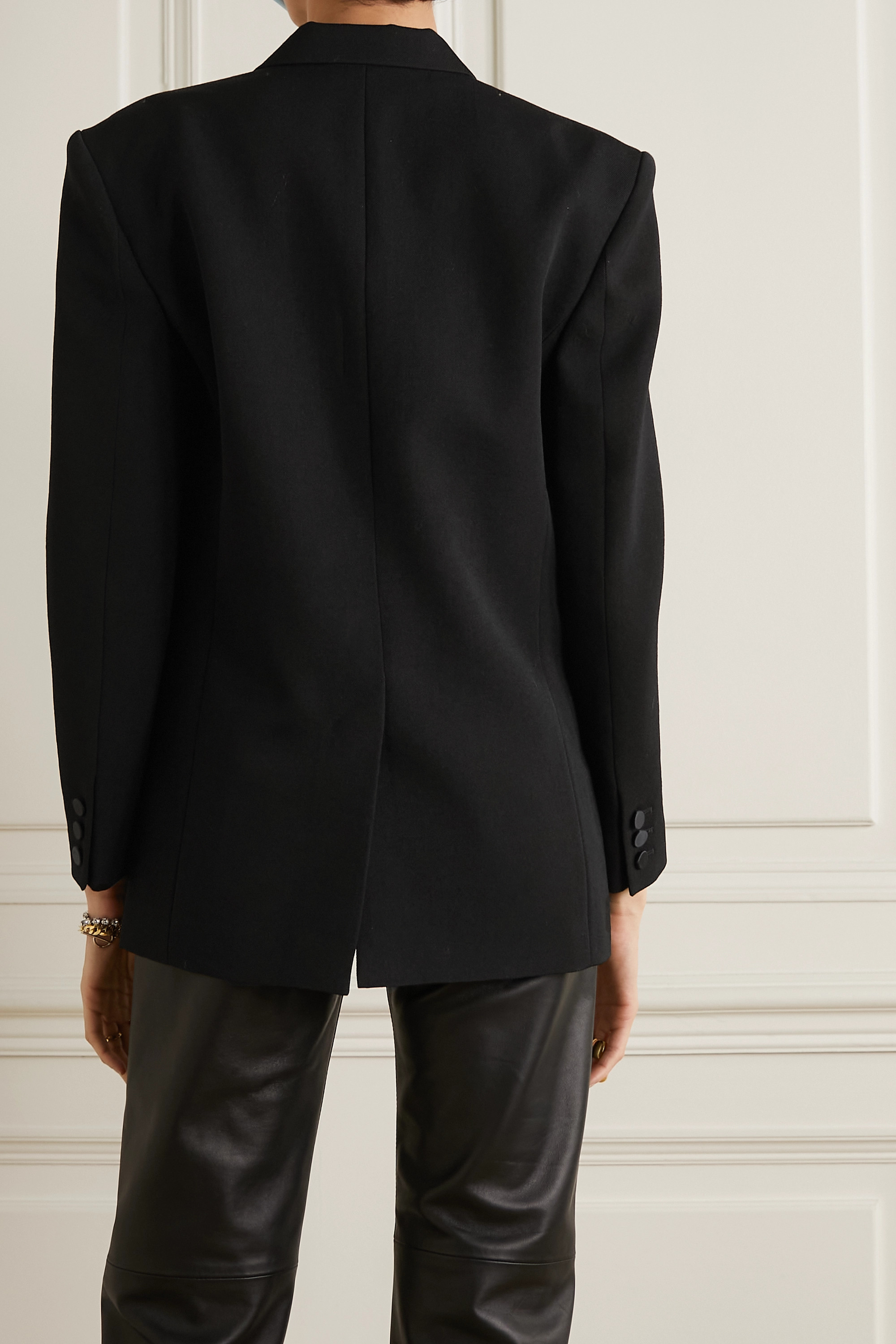 Isabel Marant Double-breasted satin-trimmed wool blazer