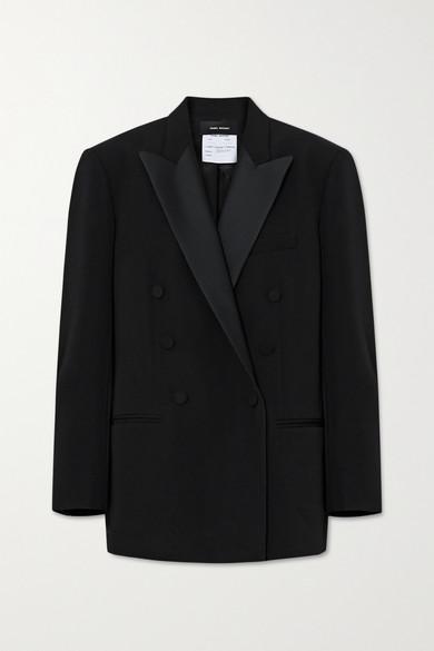 Isabel Marant - 双排扣缎布边饰羊毛西装外套 - 黑色 - FR38