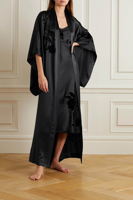Carine Gilson Belted appliquéd embroidered silk-satin robe