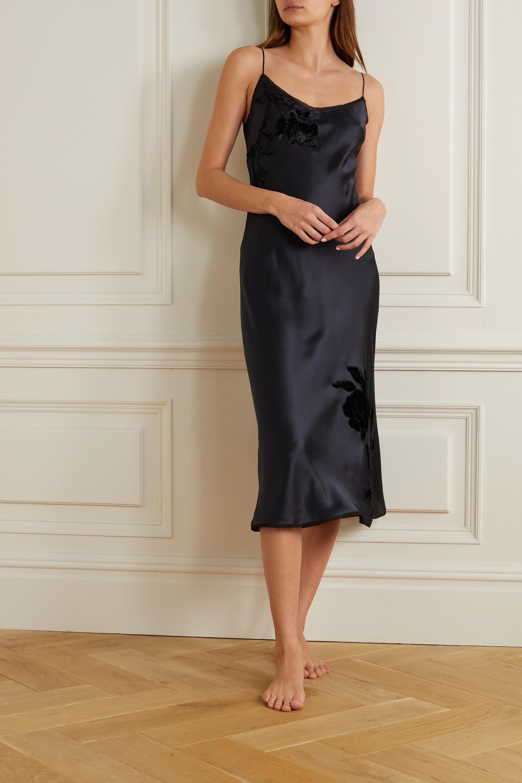 Carine Gilson Appliquéd embroidered silk-satin midi dress