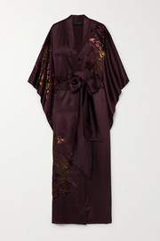 Carine Gilson Belted appliquéd embroidered silk-satin robe