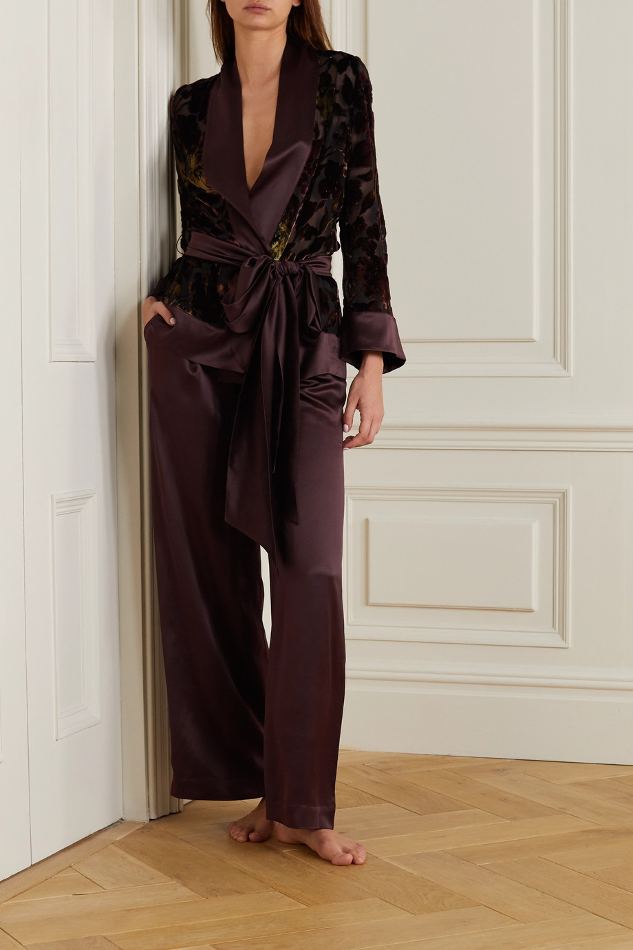 Carine Gilson Belted satin-trimmed embroidered devoré silk-velvet robe