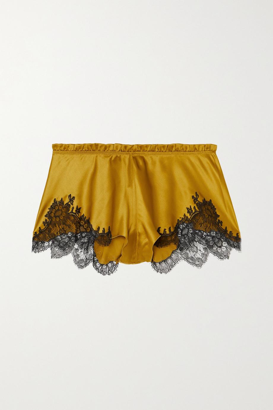 Carine Gilson Flottant Shorts aus Seidensatin mit Besätzen aus Chantilly-Spitze