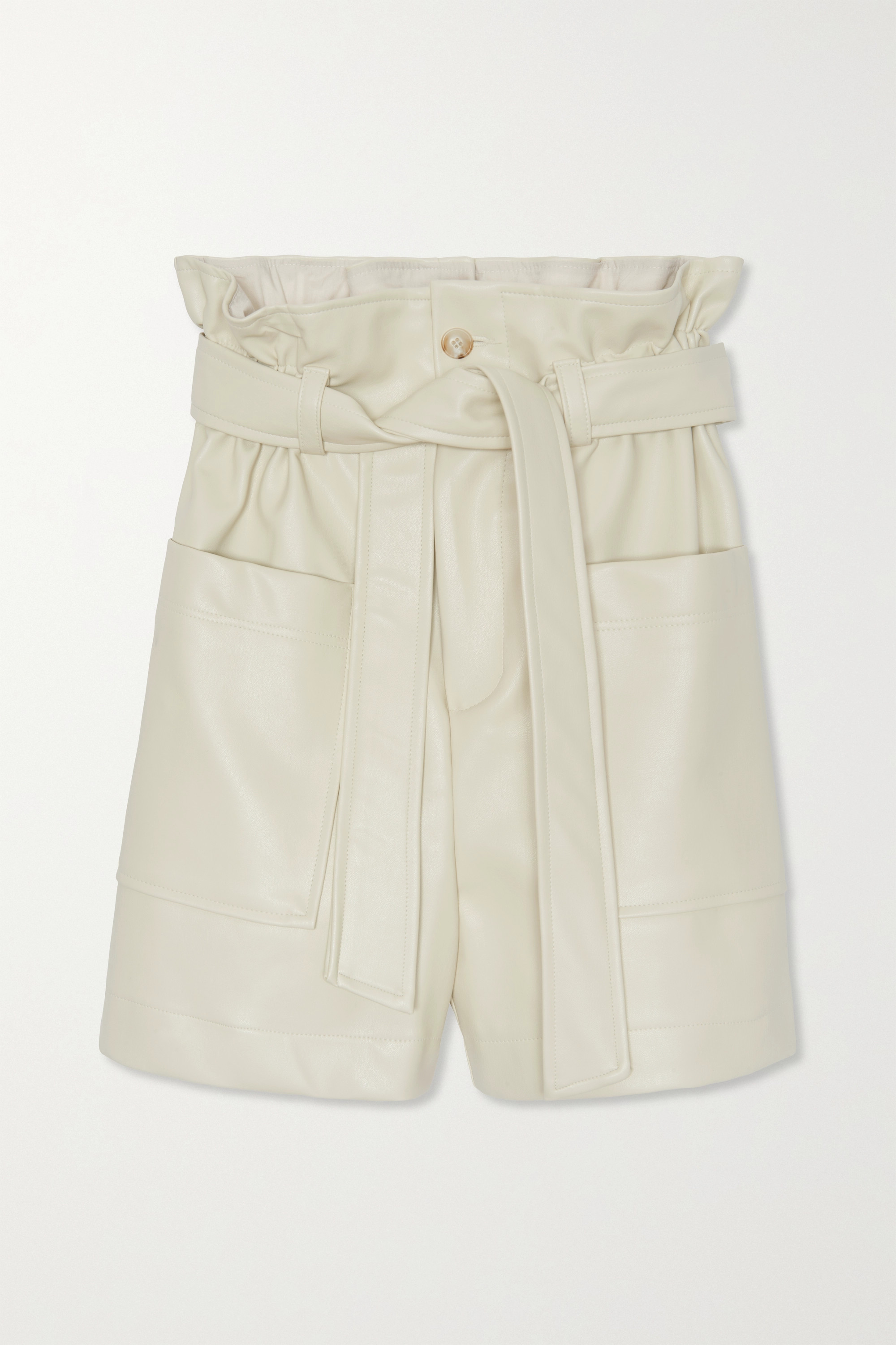 Frankie Shop Alex belted faux leather shorts