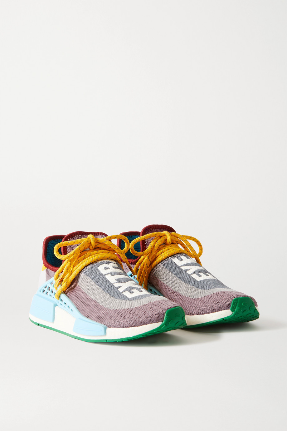 adidas Originals x Pharrell Williams NMD Hu 皮革橡胶边饰 Primeknit 编织面料运动鞋