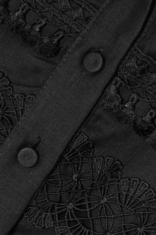 WAIMARI Violetta Minikleid aus Leinen mit Besätzen aus Guipure-Spitze