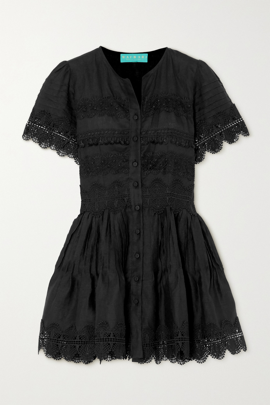 WAIMARI Violetta guipure lace-trimmed linen mini dress