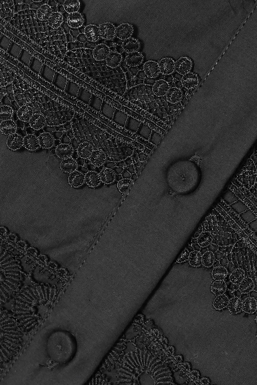 Black Camilla Guipure Lace-trimmed Cotton Maxi Dress | Waimari