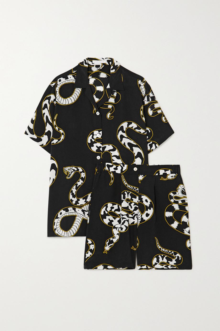 Olivia von Halle Emeli Pyjama aus Crêpe de Chine aus Seide mit Print